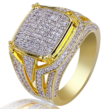 AP20656 Custom wholesale fashion hip hop finger ring Micro inlaid zircon gold ring for men
