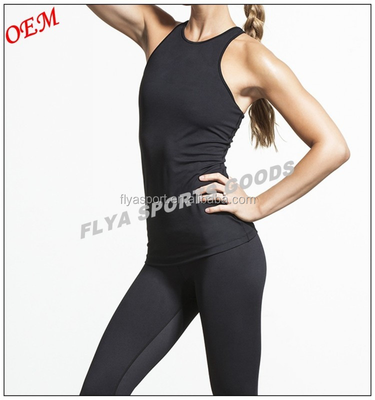 High quality compression fabric high neck racer back muscle tank top for women