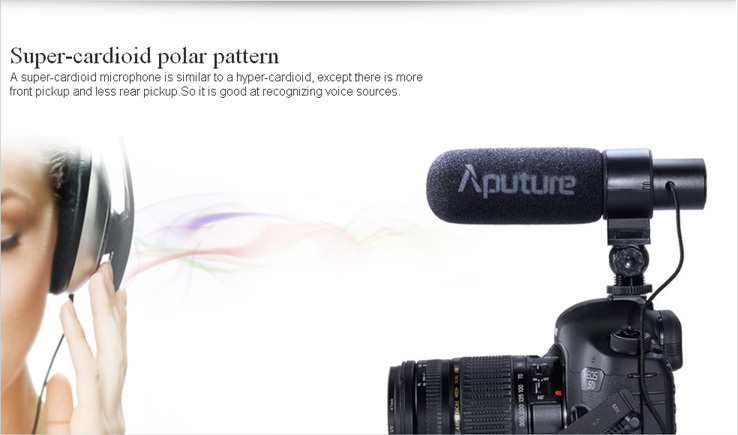 Aputure Low-cut filter battery operated super cardioid DSLR Camera Shotgun Microphone for video recording
