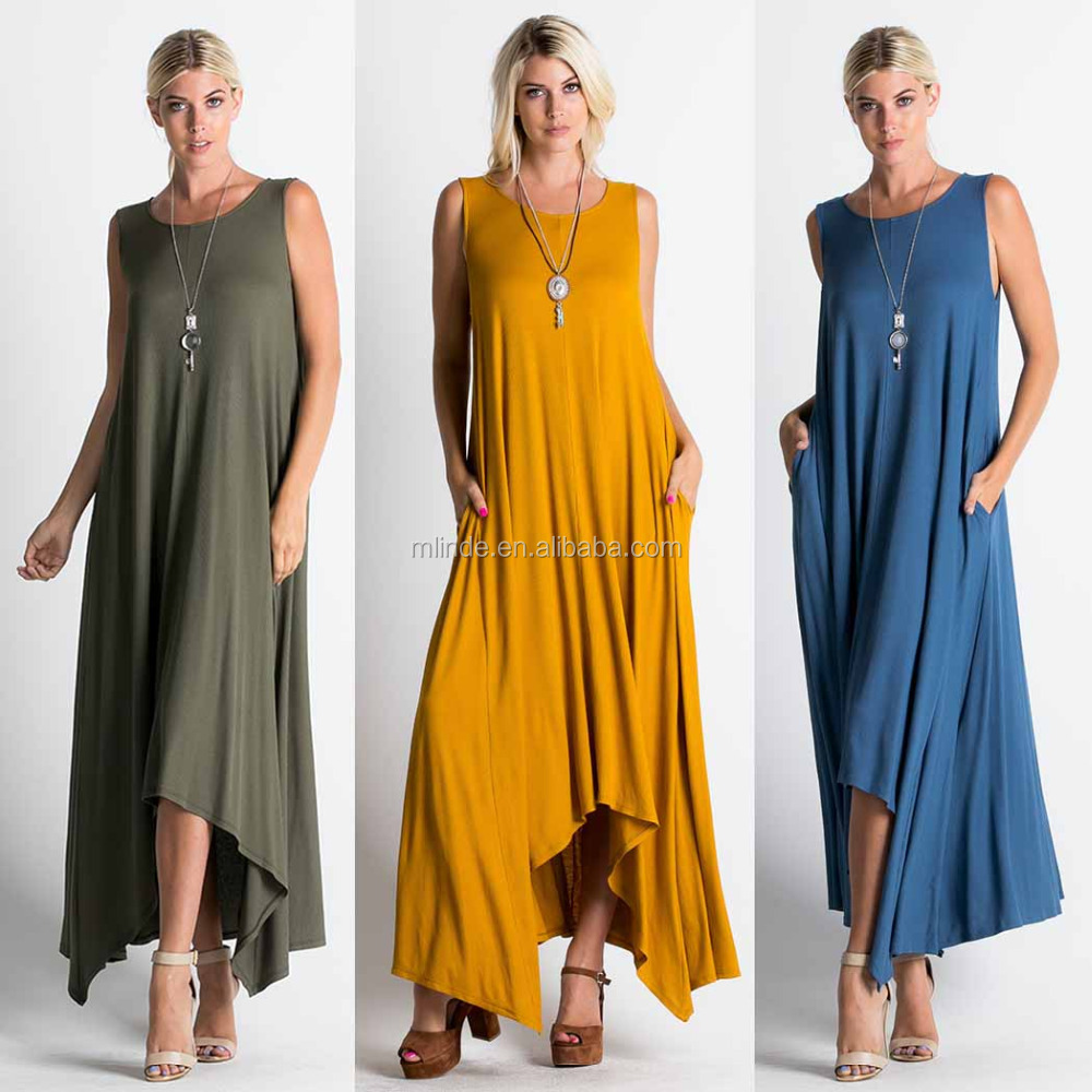 Solid Jersey Knit Sleeveless Pocket Drape Maxi Dress Vintage Boho Chic Dresses Clothing 2017