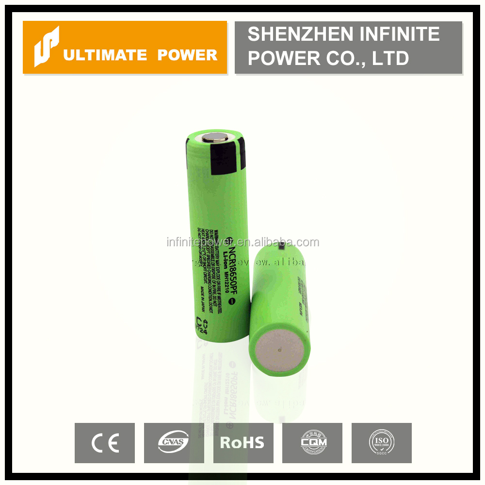 Original 18650pf 2900mah 3.7v panasonic ncr18650pf li-ion battery with button top for flashlight