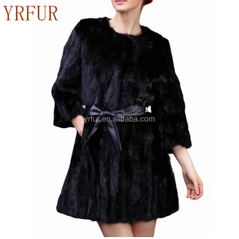 YR762 O-neck <strong>3</strong>/4 Sleeve Black Real Mink Fur <strong>Coat</strong> for Women