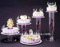 ACCS_024 Clear Acrylic Round Cupcake Stand / Wedding Cake Stand with Flowered Hollow Pillar