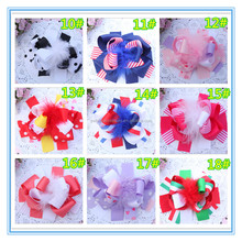 Adorable Baby Hair Accessory Colorful Flower Print Ribbon Bow Feather Hair Bow Clip