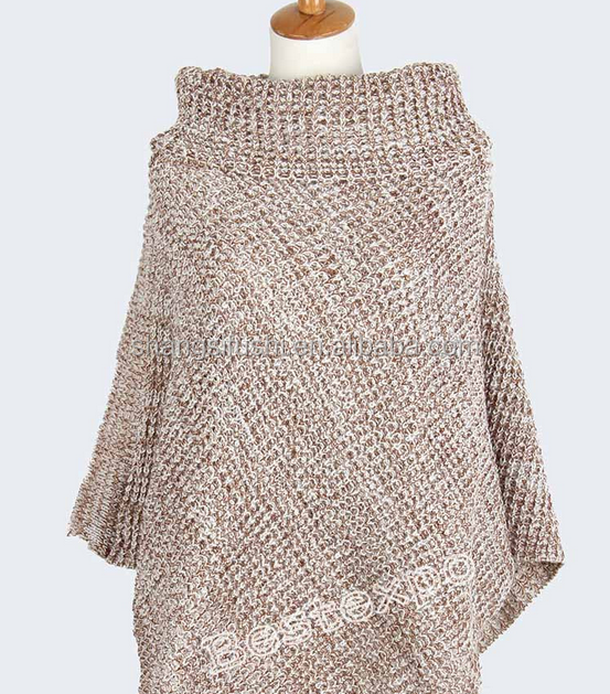 2017 poncho women knit sweater wholesale , women winter acrylic knitted poncho sweater