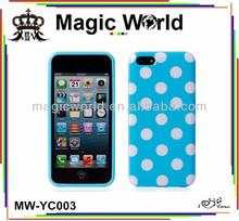 HOT selling Polka Dot TPU +hard phone case for i phone 5c