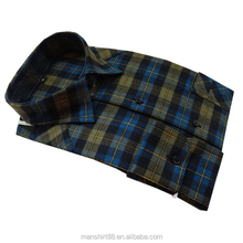 2017 new design men's lined plaid flannel shirt