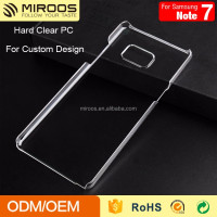 hot sale glossy transparent mobile phone Blank pc cover for Samsung note 7 case
