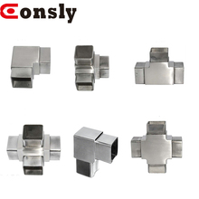 3 way square tube connectors 3-way flush elbow stainless steel handrail elbow flush angle fittings