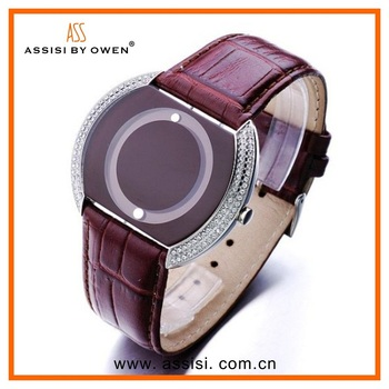 Assisi brand stone on watch face leather silver watches men vogue quartz watch