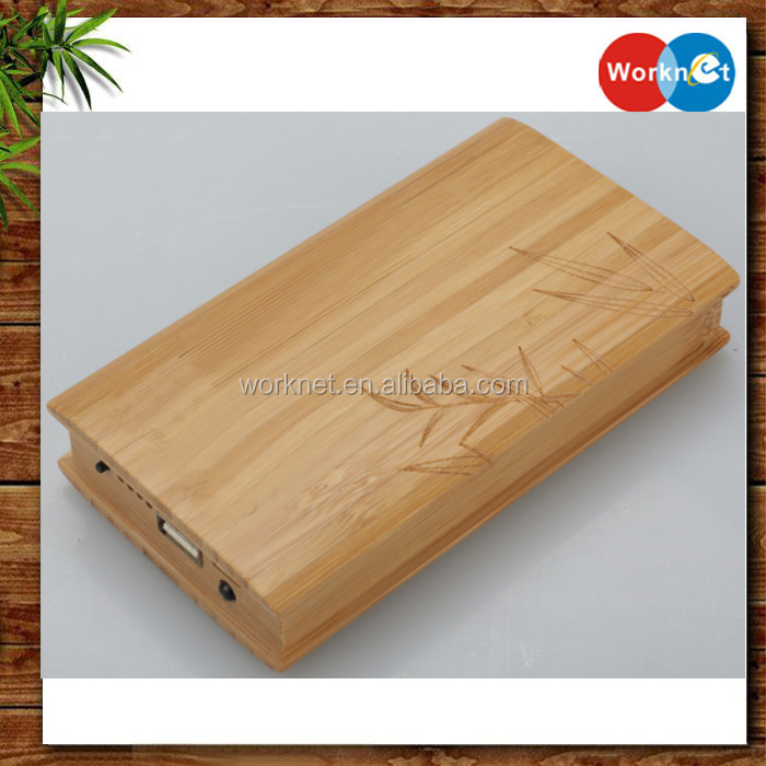 high quality handmade craft 12000 mah bamboo power bank, portable power bank wood