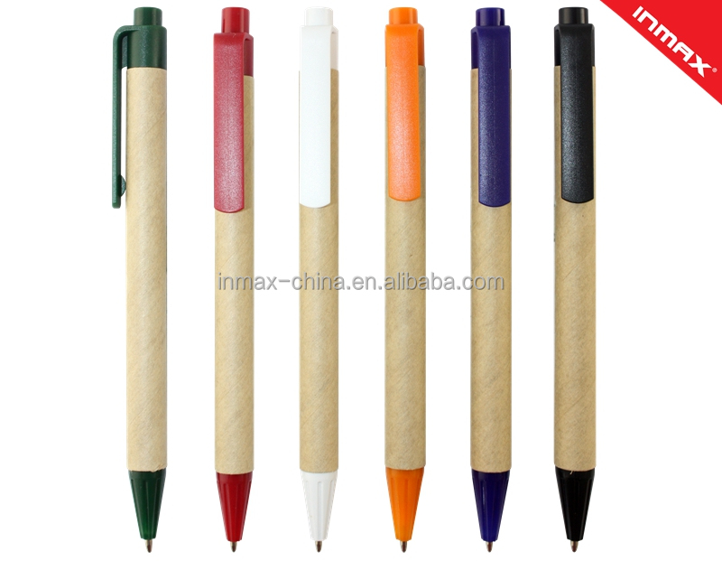 School stationery automatic colorful ball pen made by paper