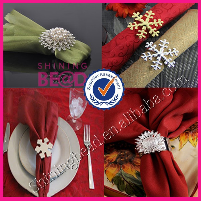 AB color Gold Flower Rhinestone Napkin Ring For Wedding Dinner Table Decoration