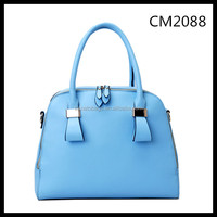 light blue zipper closure double PU handle women handbag