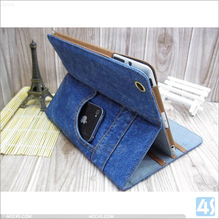 Jeans pattern with card pocket Leather Protective Case for iPad Mini 3