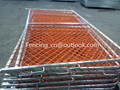 Galvanized pipe frame orange PVC coated chainlink mesh barrier temporary gate fencing