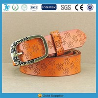 Orange Fashion Ladies Flower Embossed Leather Name Belts Wholesale