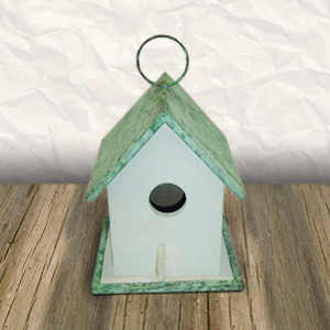 Wood Bird House Copper Roof