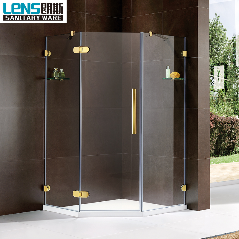 China direct supplier manufacture shower door corner pentagon frameless manufacture shower door