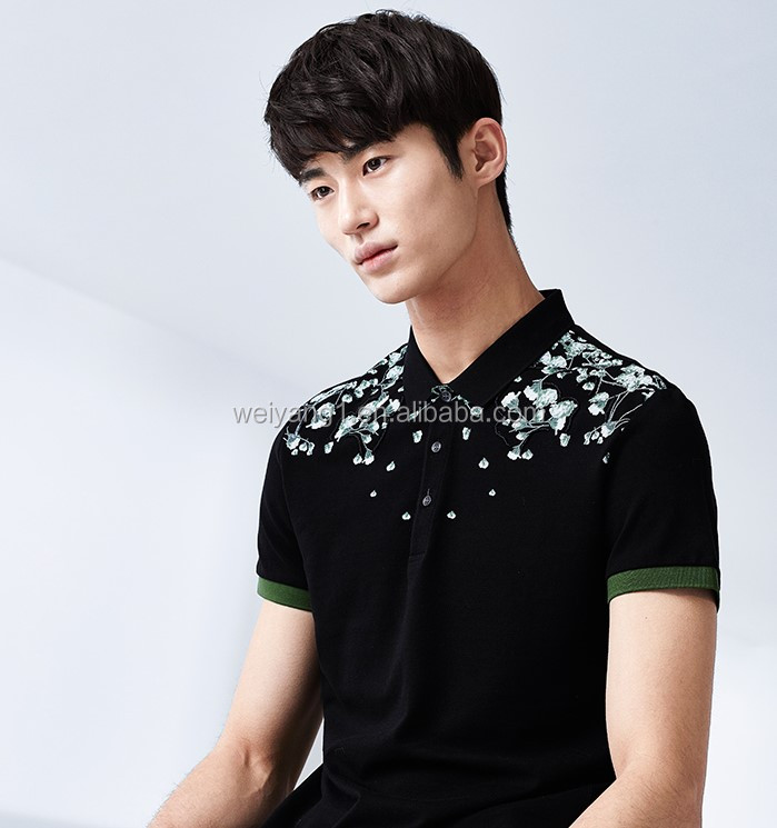 Hot summer fashion leisure clubs printing short sleeve polo shirt
