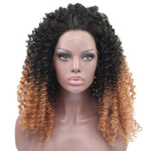 Two Tone Color Ombre Black and Brown Afro Kinky Curly Braided Synthetic Hair Lace Front Wigs for Black Women