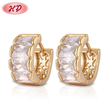 Saudi 2015 pictures of small rose gold huggie earrings with zircon designs jewelry models for woman
