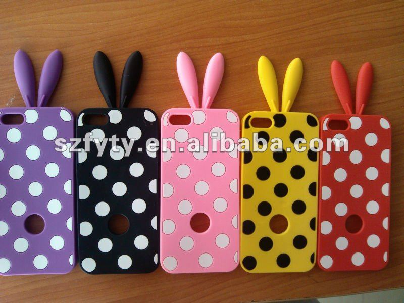 fashionable rabbit radiation proof silicone cell phone case for iphone5