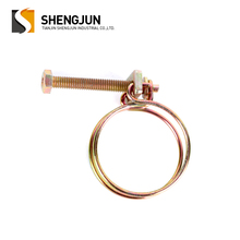 China customized 24-28mm galvanized metal double wire hose clamps different sizes