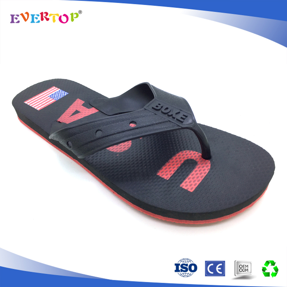 Autumn spring and summer season men gender flag printed comfort cheap slipper rubber slipper flip flop manufacturing