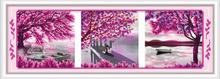 Autumnal scenery diamond painting for wall decoration, diamond painting kit
