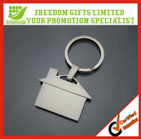 Custom Made House Shaped Blank Metal Keychain