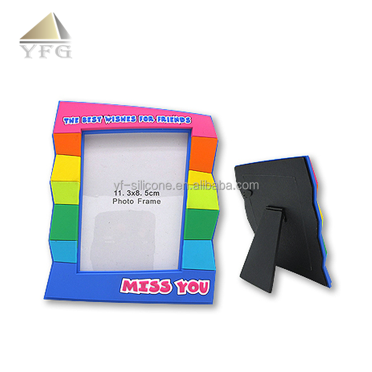 funny soft pvc customised 3D picture photo frame with holder