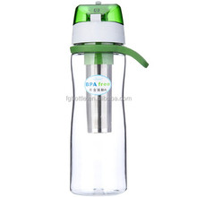 bike water bottle holder Soft carry handle plastic bottle with straw lid and stainless steel filter basket
