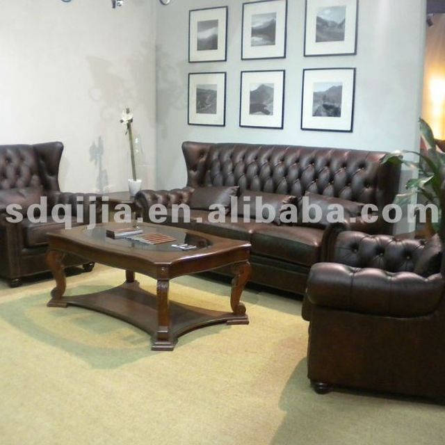 antique luxury chesterfield leather sofa set 3 2 1 seat
