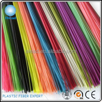 Colorful and brilliant PET broom fibers with good bend recovery