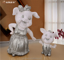 cartoon resin mother and baby pig adornment for home table decor small sizes for animal kids new year gifts