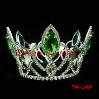 Fully Round Design Green Crystal King And Queen Pageant Crown Bride To Be Tiara