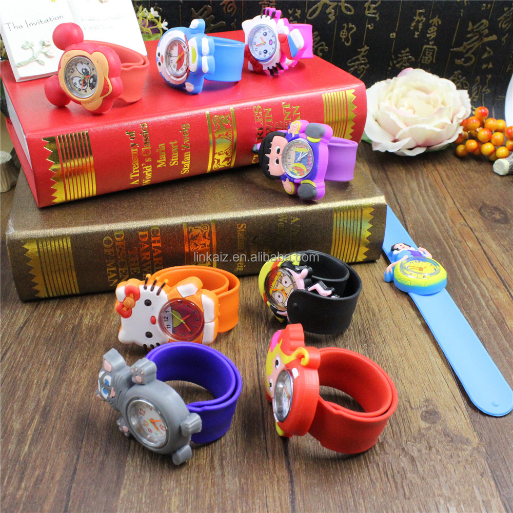 free sample 2016 customized snap on kids wrist animal slap watch for sales