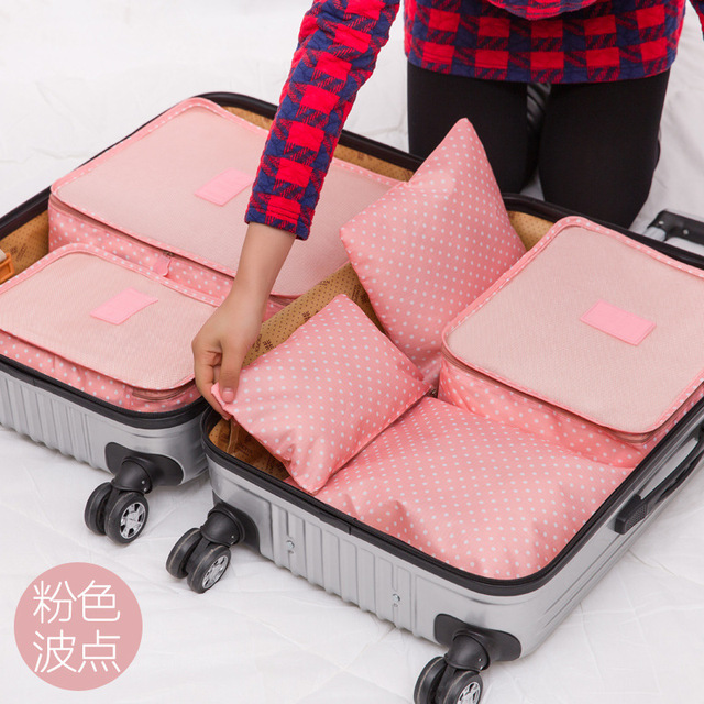 Travel Bag 6sets = six pieces of travel suitcase clothing underwear finishing bag new printing color 6 sets
