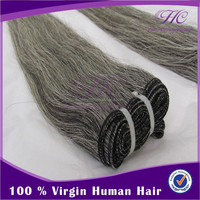 2015 Hot Sell Good Quality Remy Virgin Indian Grey Hair Naturally Curly