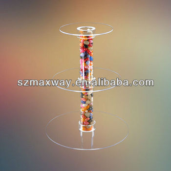 3 Tier Acrylic Cake Stand/Tiered Crystal Wedding Cake Stand
