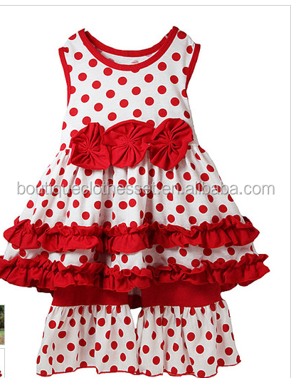 High quality valentine's day clothes usa teen girls red polka dot clothing outfit lovely kids holiday sets