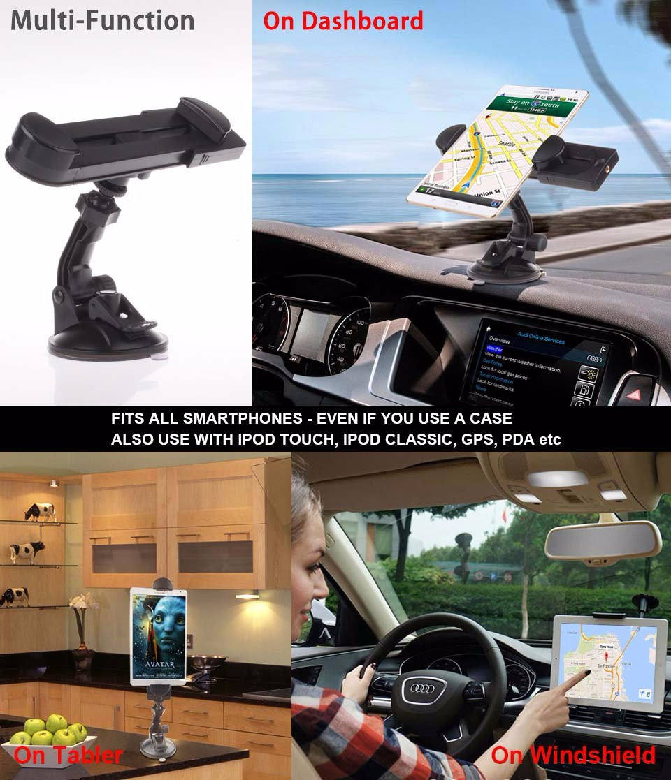 Universal 360 Degree Rotation Adjustable Car Cup Holder Mount For Apple iPad Tablet PC