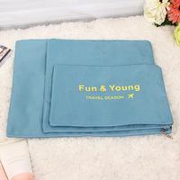 customized logo 3pcs storage bag set nylon plaid garment stroage bag for travel