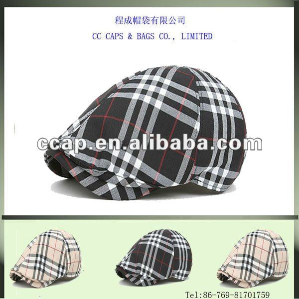 fashion beige check newsboy beret plat cap hat ccap-0234