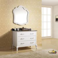 Luxurious Solid Oak Wood Bathroom Vanity with Marble Countertop