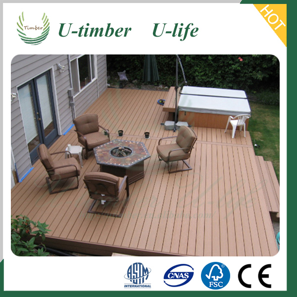 Plastic wood flooring and decking boards WPC for outdoor decoration