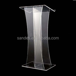 Wholesale Clear Wide Top Acrylic Lectern Fashionable Acrylic Lectern with Modern Spine