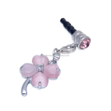 Custom phone charm lucky clover earphone jack plug