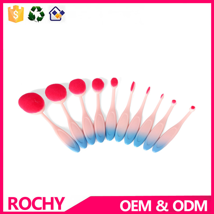10pcs toothbrush Synthetic Hair Makeup Brush With gradient ramp